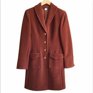 PERUVIAN CONNECTION Llama wool rust long coat sz 6